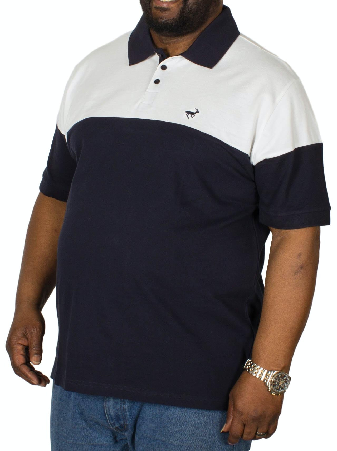 Bigdude Cut & Sew Polo Shirt White/Navy