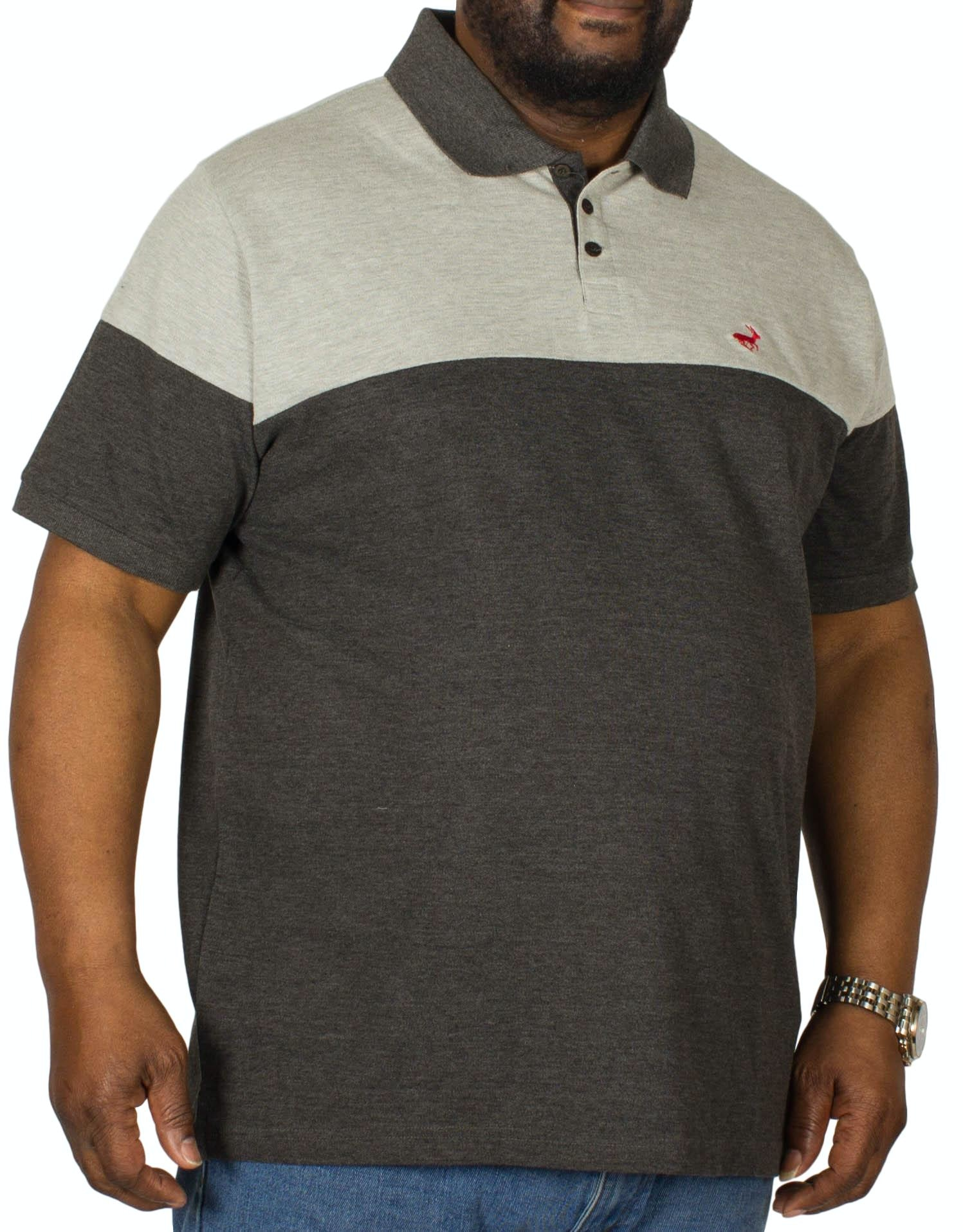 Bigdude Cut & Sew Polo Shirt Grey/Charcoal