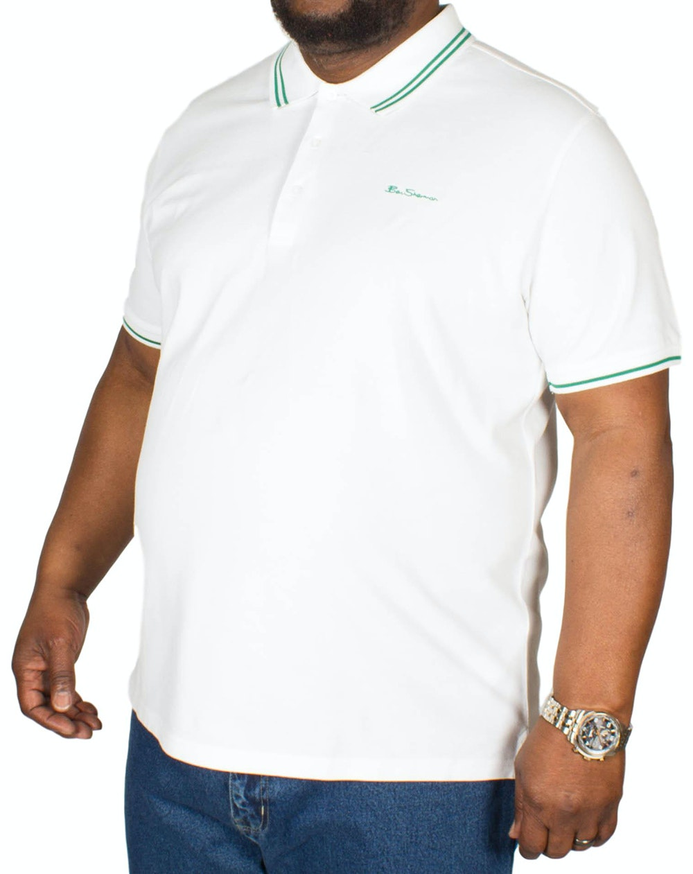 Ben Sherman Script Tipped Polo Shirt White
