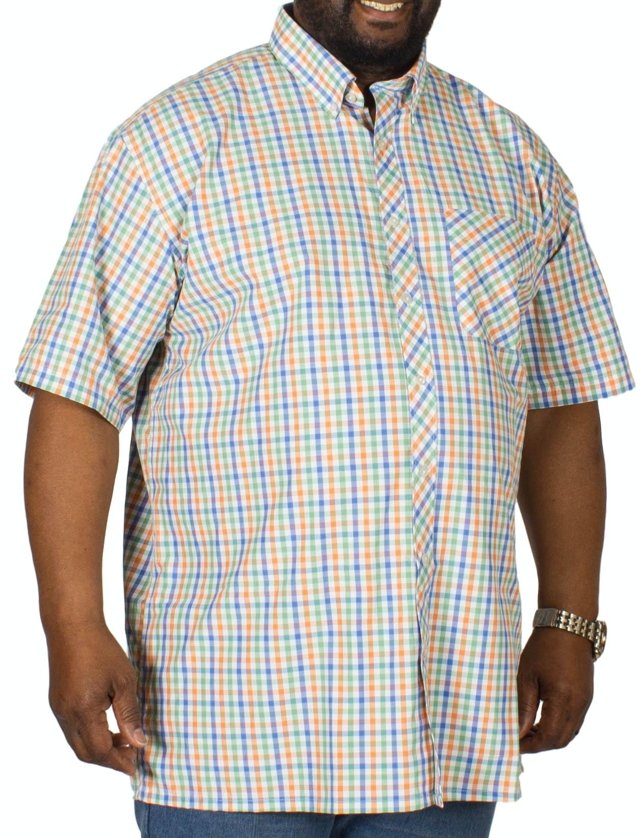 Espionage Short Sleeve Check Shirt Blue/Peach