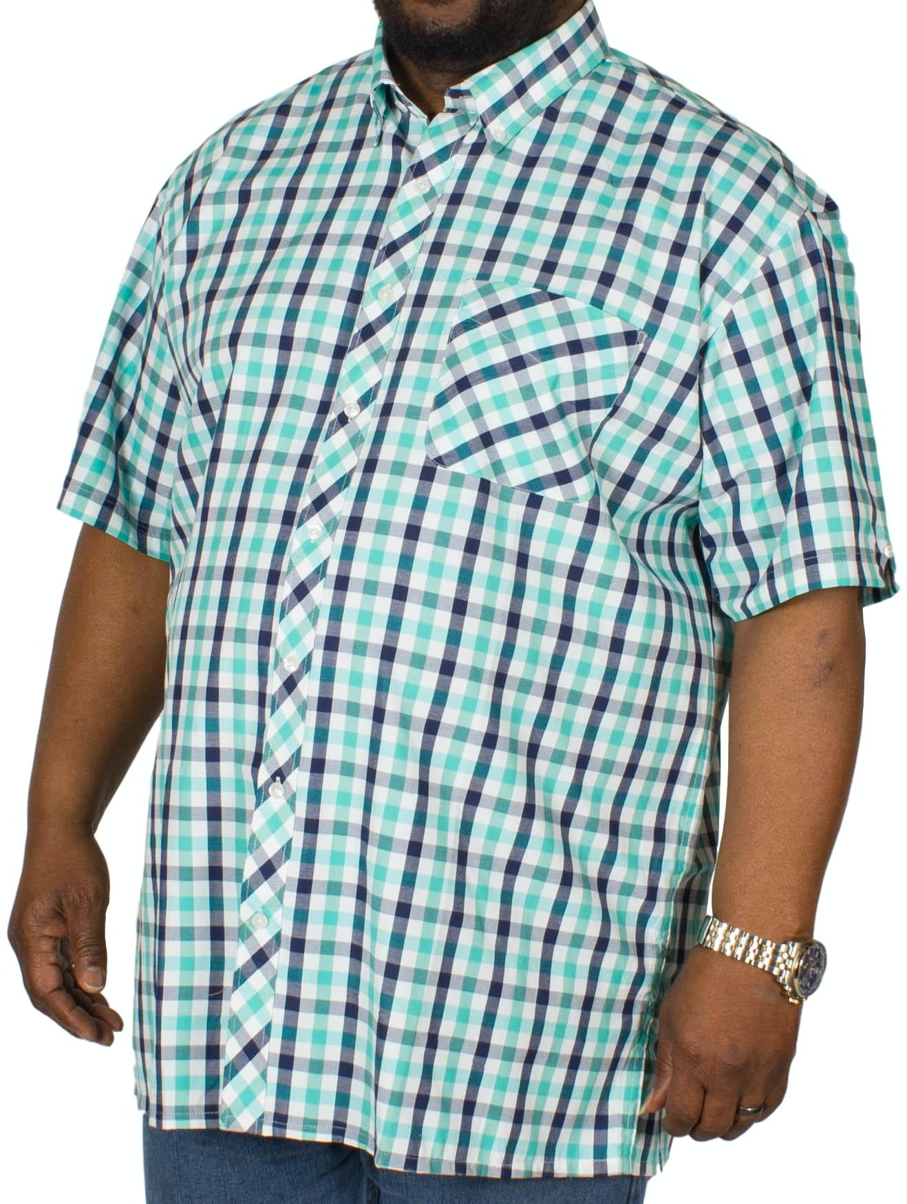 Espionage Short Sleeve Check Shirt Navy/Mint