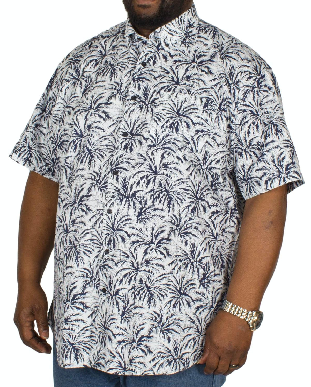 Espionage Palm Print Short Sleeve Shirt Blue