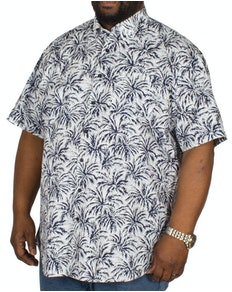 Espionage Palm Print Short Sleeve Shirt Blue