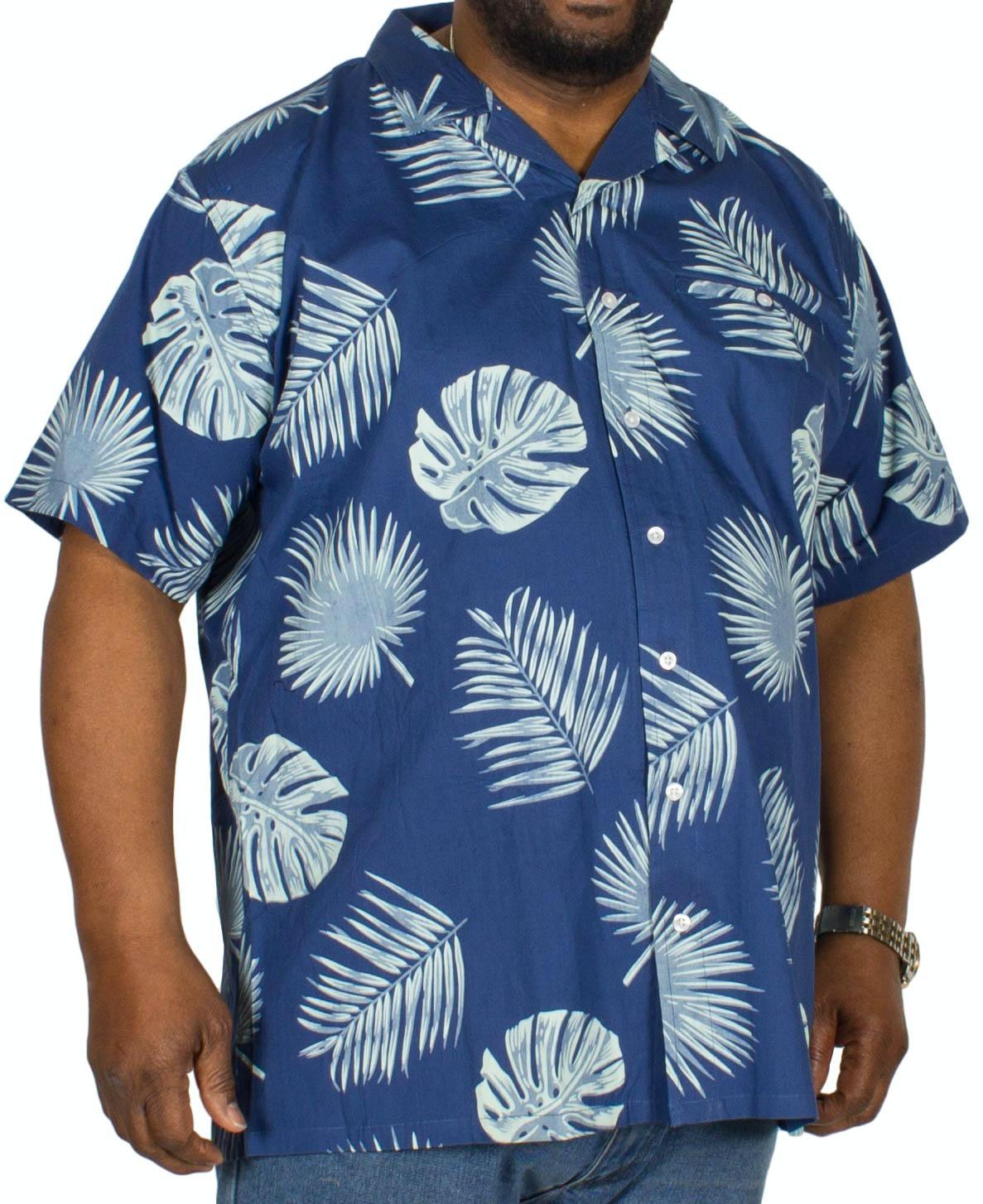 Espionage Leaf Print Short Sleeve Shirt Blue