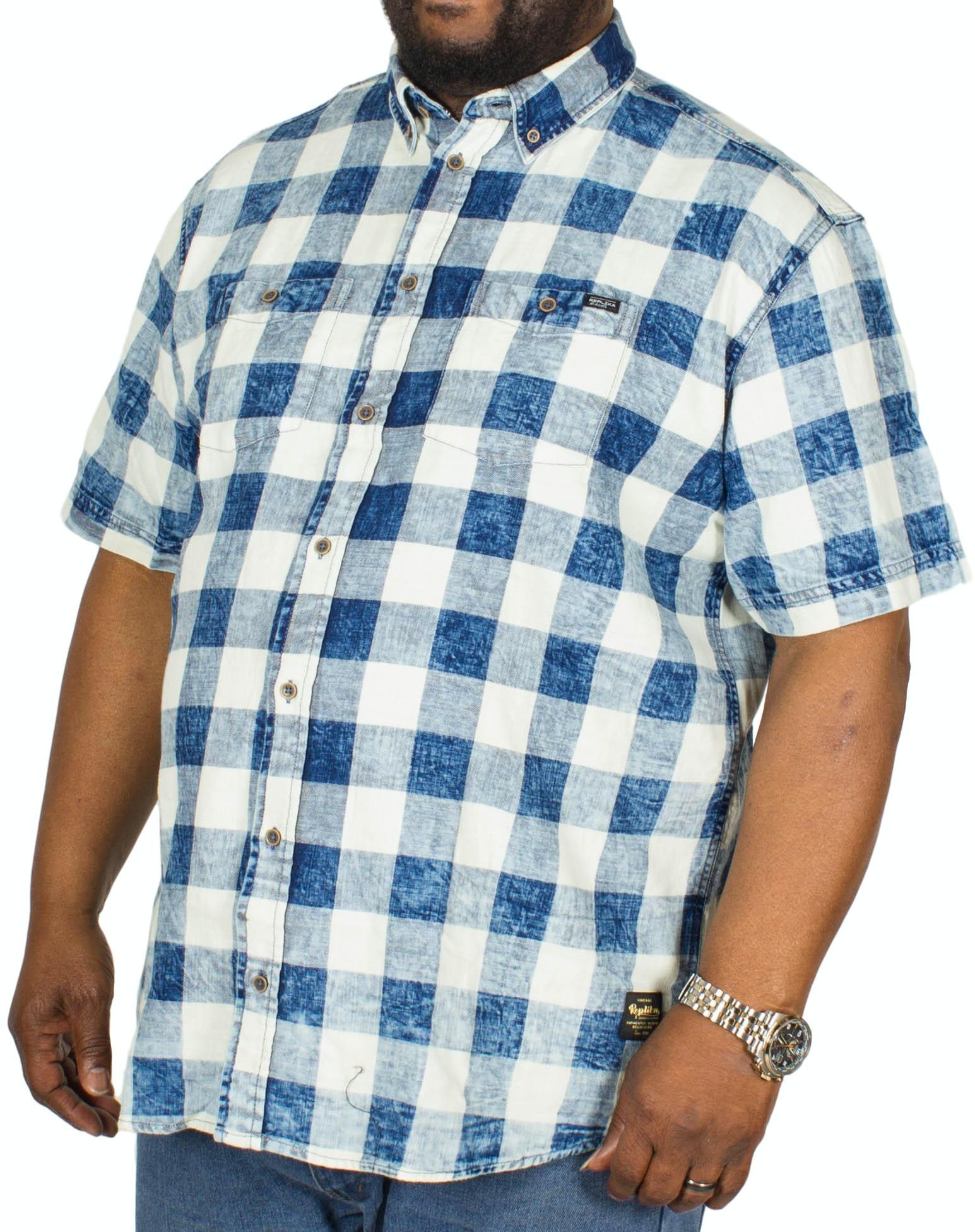 Replika Check Marble Washed Short Sleeve Shirt Blue