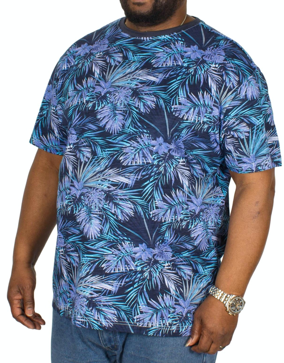 Replika Leaf Printed T-Shirt Blue