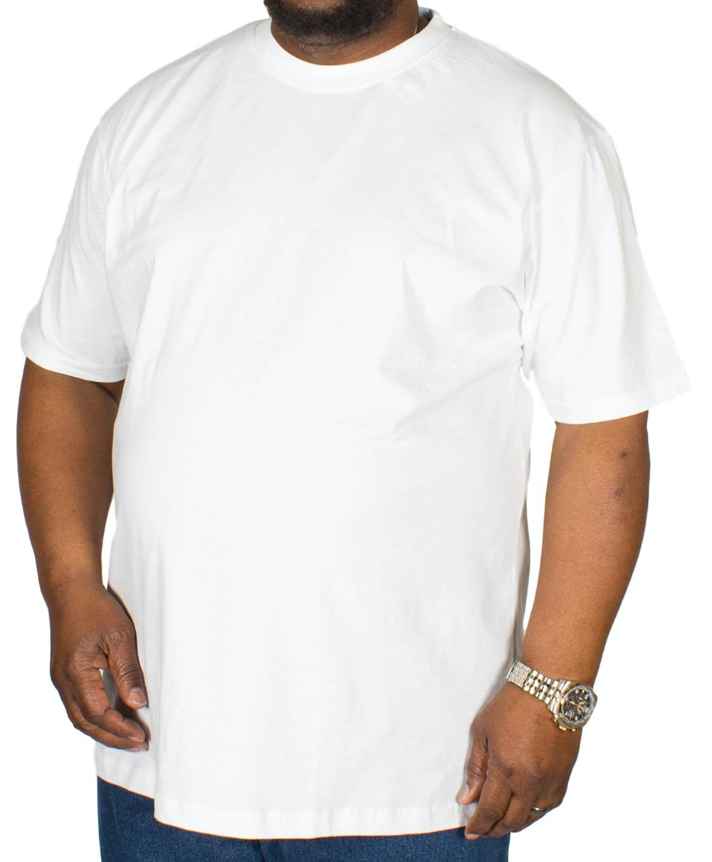 Bigdude Plain Crew Neck T-Shirt White Tall