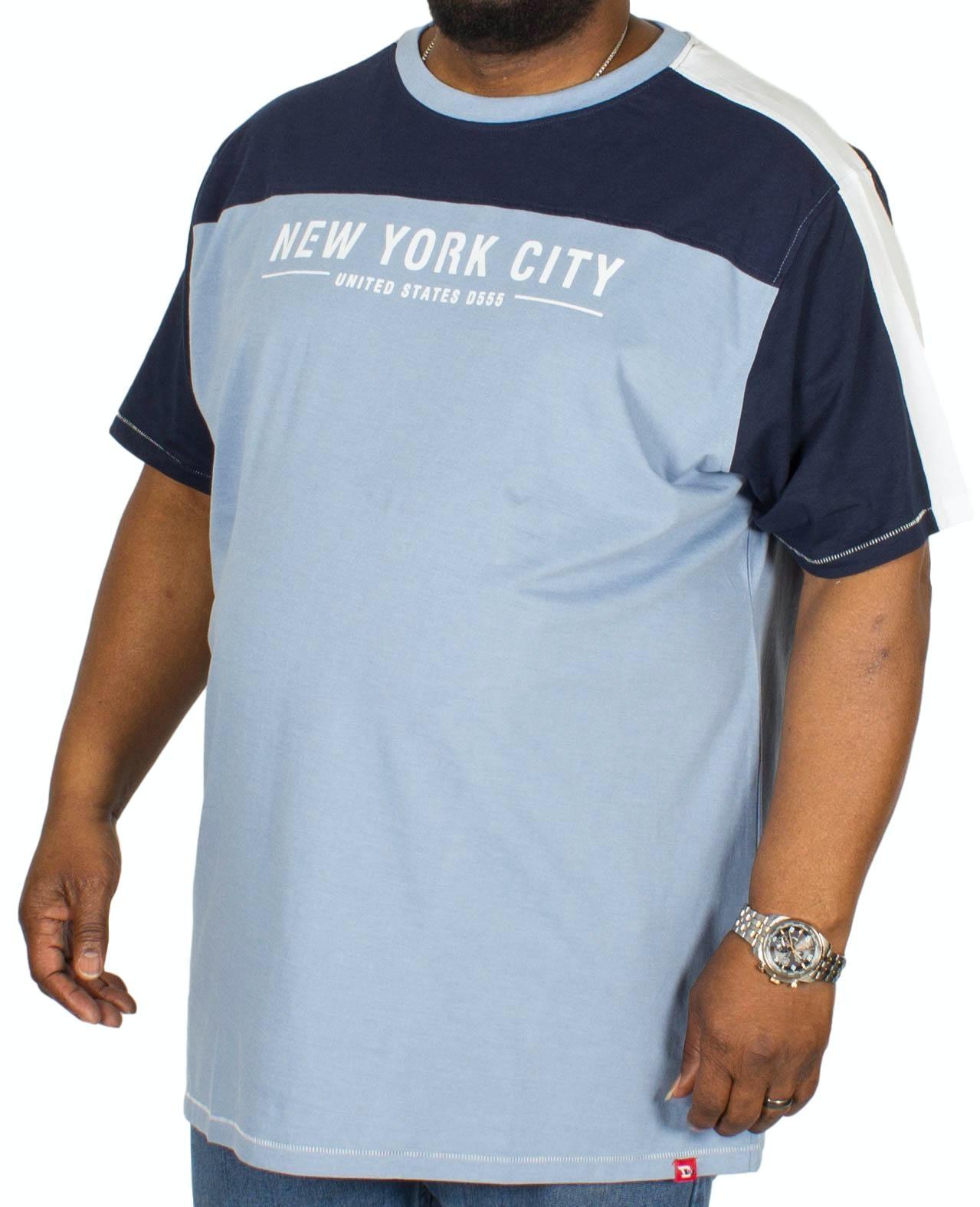 D555 Alvester Printed Cut & Sew T-Shirt Blue