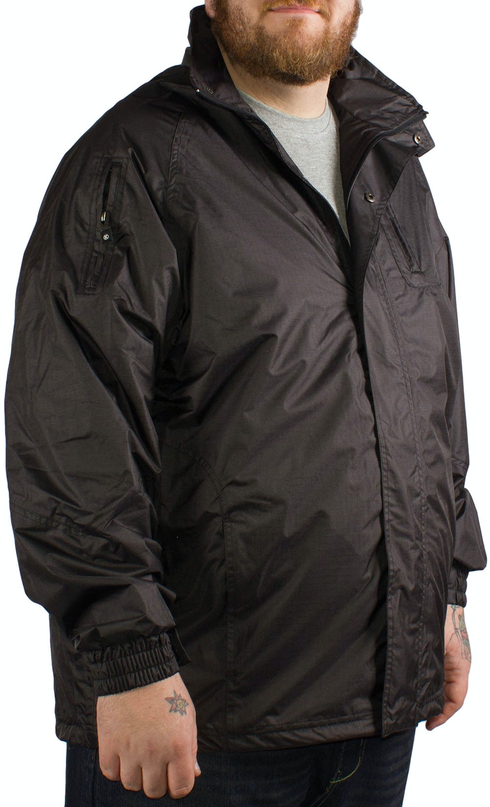 KAM Black Waterproof Rain Jacket