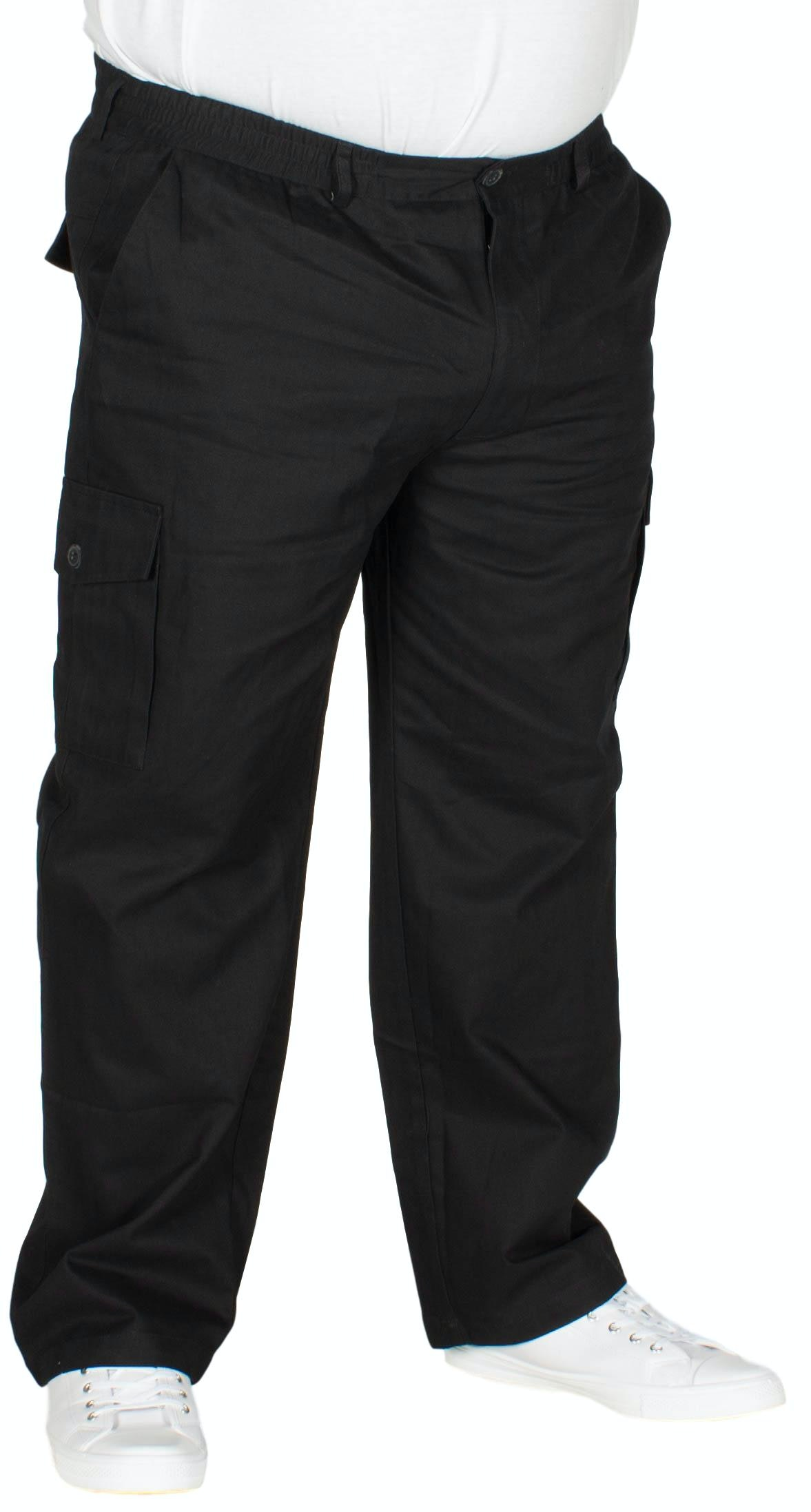 Bigdude Elasticated Waist Cargo Trousers Black