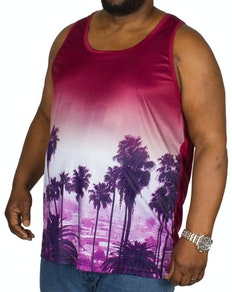 KAM Palm Tree Sunset Vest Burgundy
