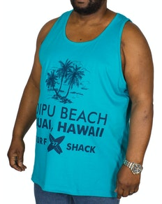 KAM Hawaii Print Vest Breeze Blue