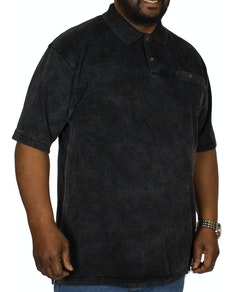 KAM Acid Wash Polo Shirt Black