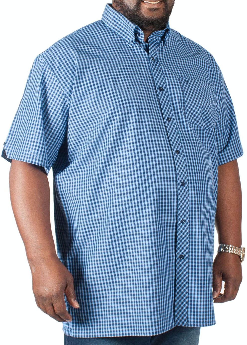 Espionage Short Sleeve Gingham Shirt Blue/Navy