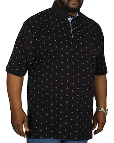 KAM Compass Dobby Print Polo Shirt Black