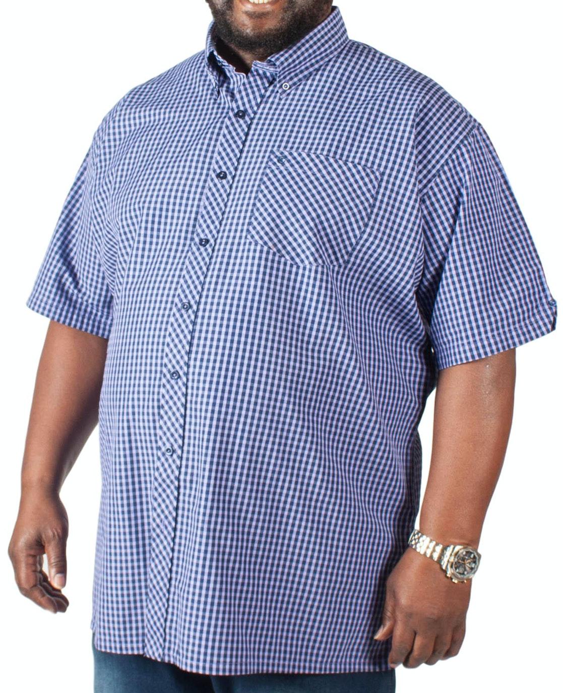 Espionage Short Sleeve Gingham Shirt Lilac/Navy