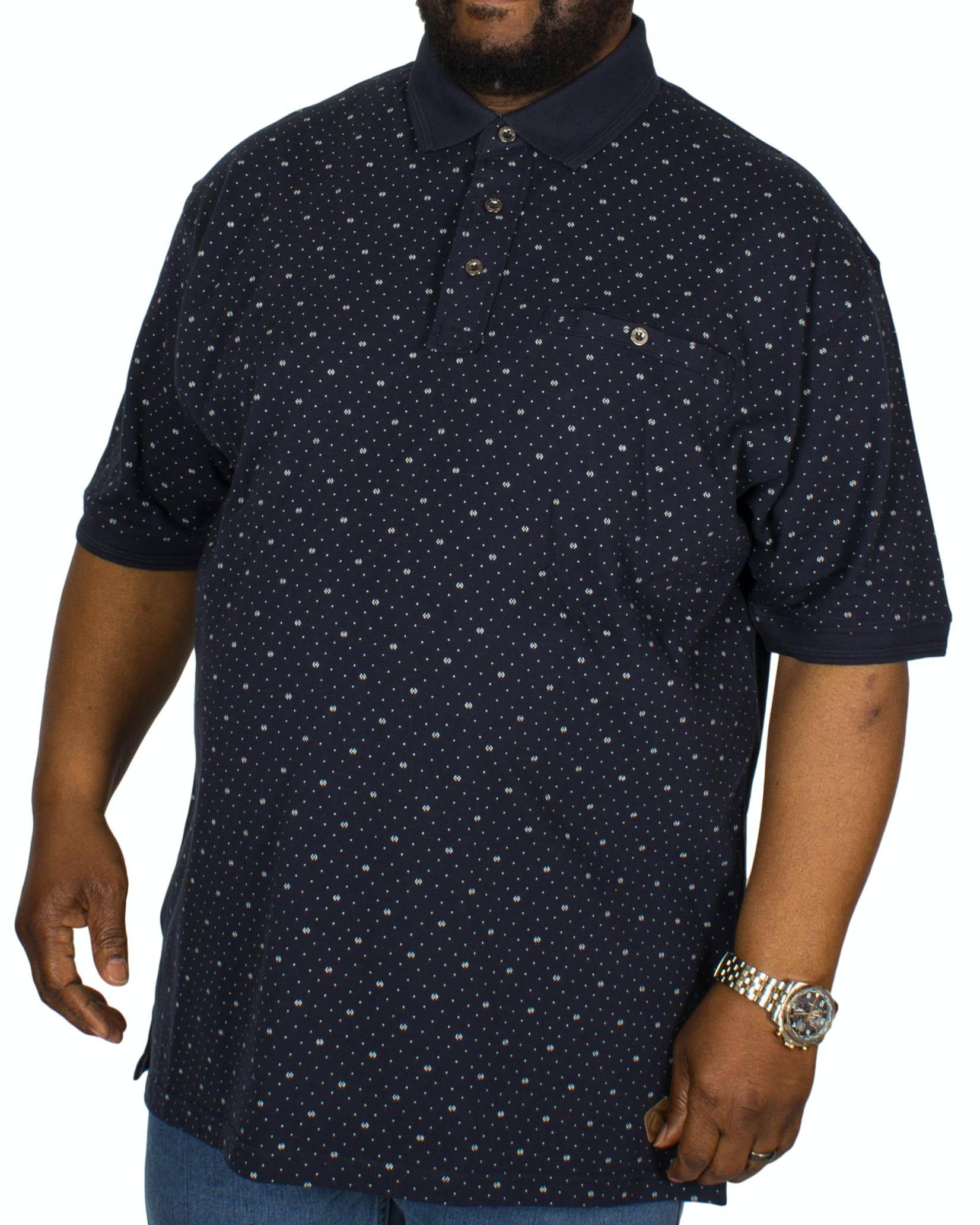 KAM Dobby Print Polo Shirt Navy