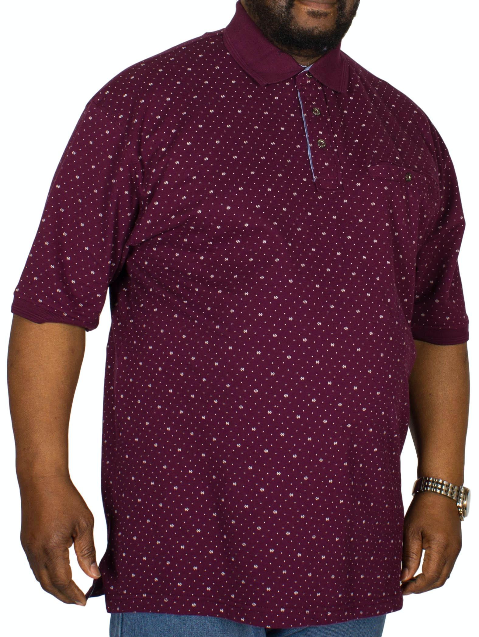 KAM Dobby Print Polo Shirt Dark Magenta