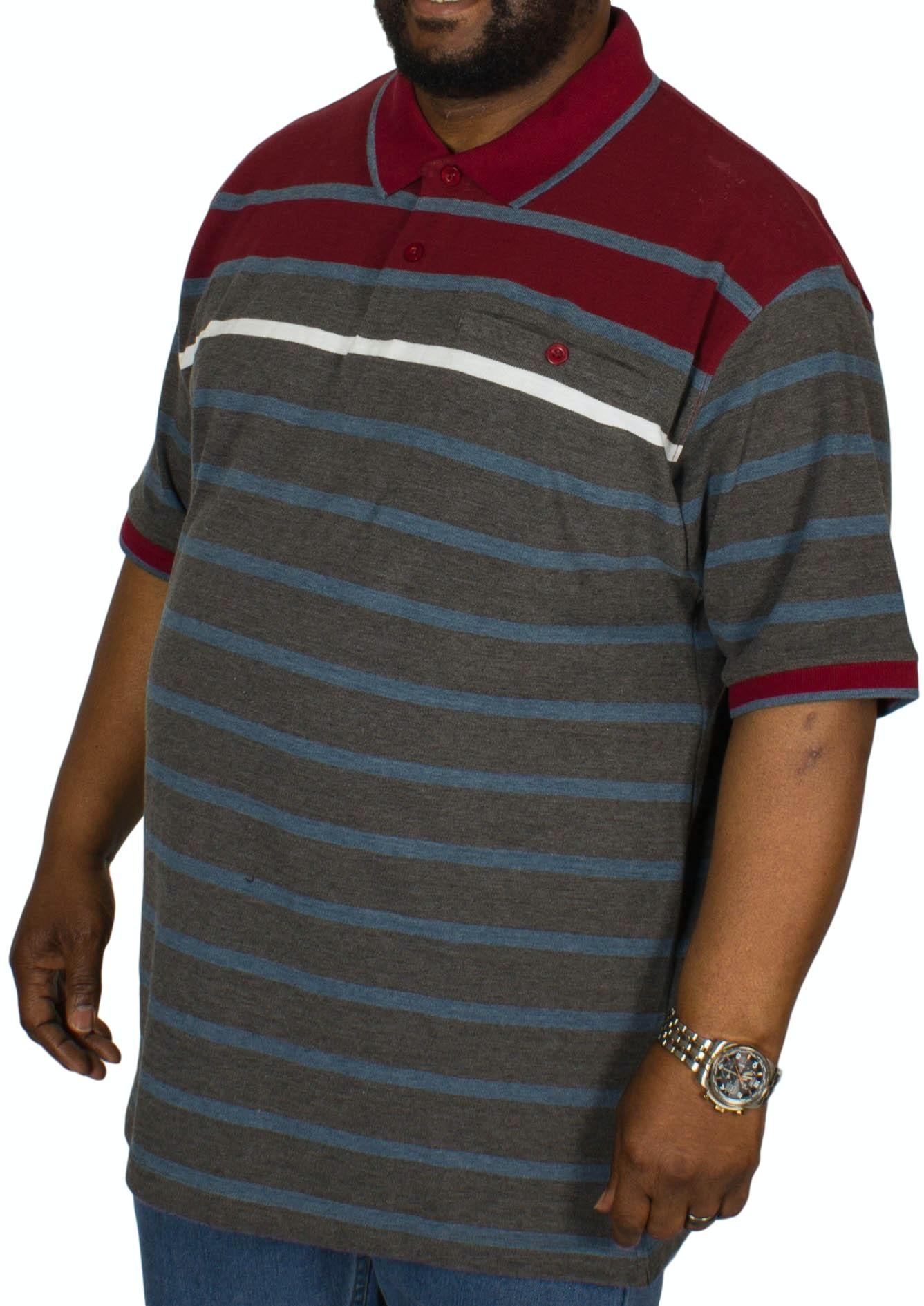 KAM Stripe Polo Shirt Burgundy