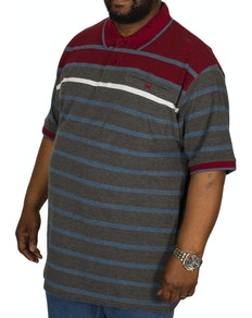 KAM Stripe Polo Shirt Burgundy