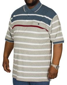 KAM Stripe Polo Shirt Denim