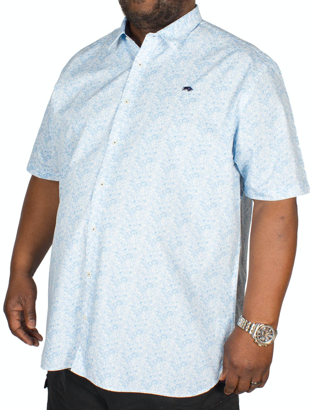 Raging Bull Micro Floral Shirt Blue/White