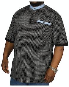 KAM Anchor Grandad Collar Polo Shirt Black