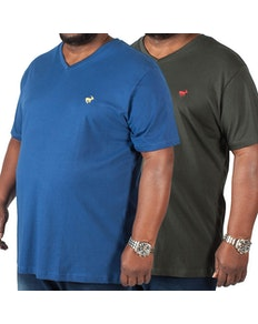 Bigdude Signature V-Neck T-Shirt Twin Pack Black/Navy