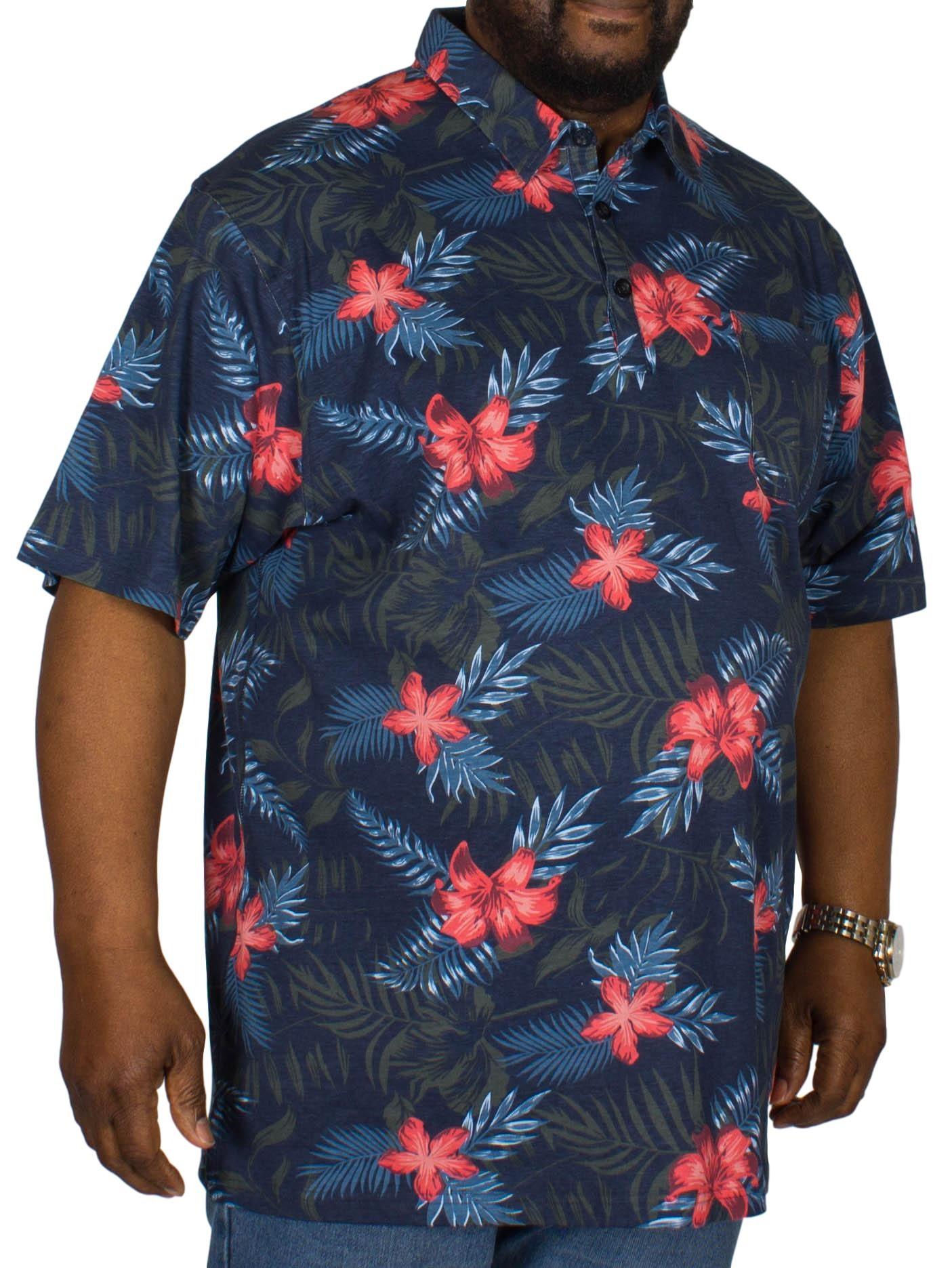 Espionage Hawaiian Print Polo Shirt Navy