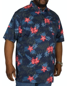 Espionage Hawaiian Print Polo Shirt Navy