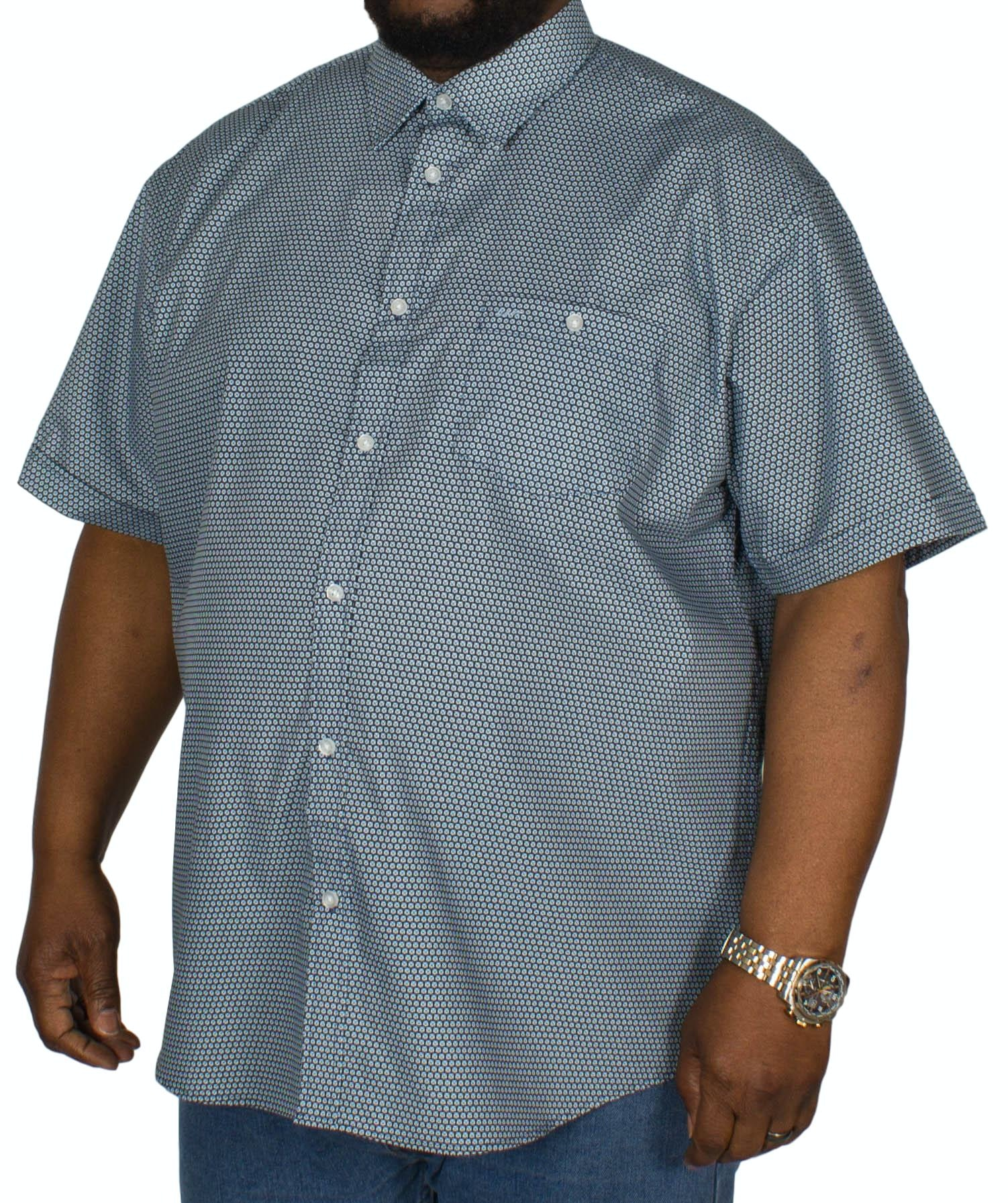 KAM Crosses Dobby Short Sleeve Shirt Teal