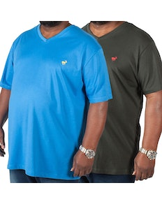 Bigdude Signature V-Neck T-Shirt Twin Pack Black/Blue