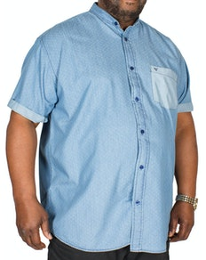 Cotton Valley Short Sleeve Denim Grandad Collar Shirt