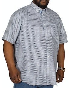 KAM Diamond Dobby Short Sleeve Shirt Navy