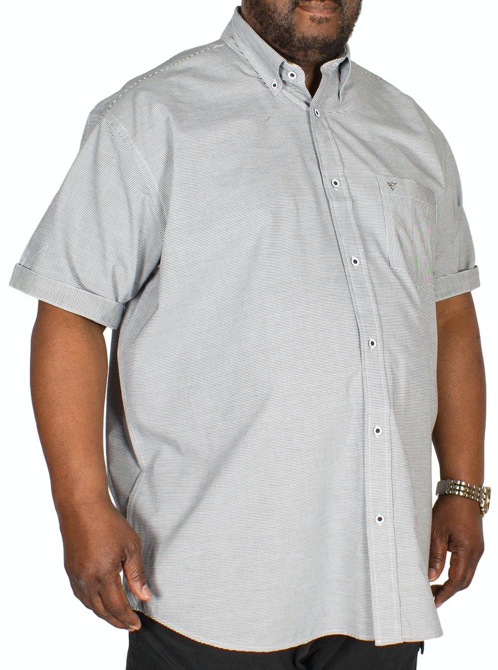 Cotton Valley Short Sleeve Horizontal Stripe Shirt Grey