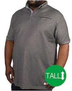 D555 Edric Fine Melange Pique Short Sleeved Polo Charcoal Tall