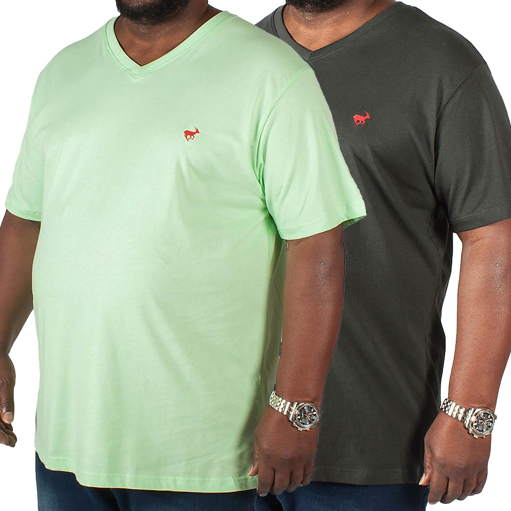 Bigdude Signature V-Neck T-Shirt Twin Pack Black/Green