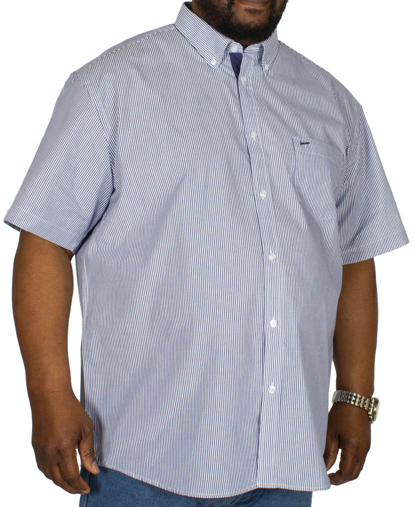 KAM Stripe Short Sleeve Shirt Navy