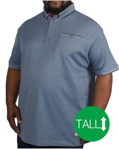 D555 Edric Fine Melange Pique Short Sleeved Polo Blue Tall