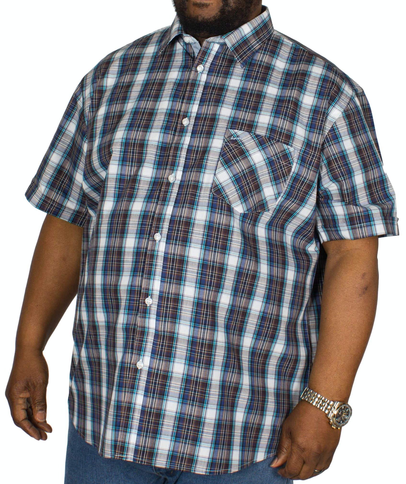 KAM Check Short Sleeved Shirt Blue/Teal