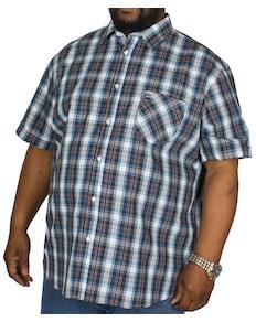 KAM Check Short Sleeved Shirt Blue/Teal
