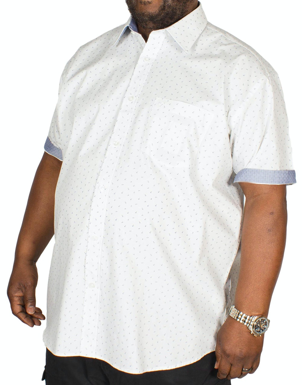 Cotton Valley Short Sleeve All Over Print Shirt White