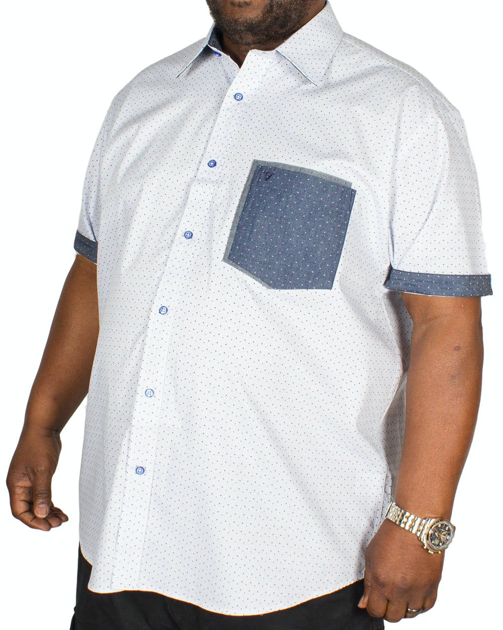 Cotton Valley Short Sleeve All Over Print Shirt Blue