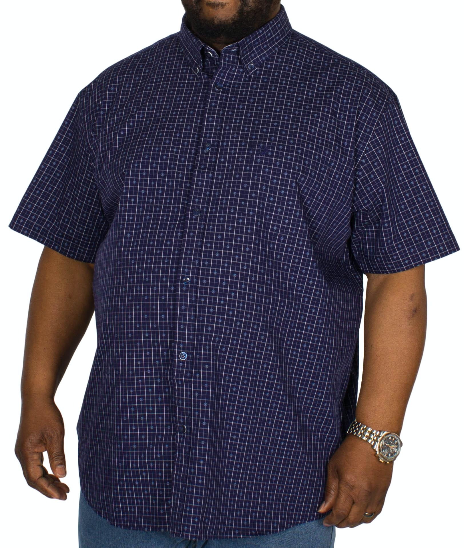 KAM Check/Dobby Short Sleeve Shirt Blue
