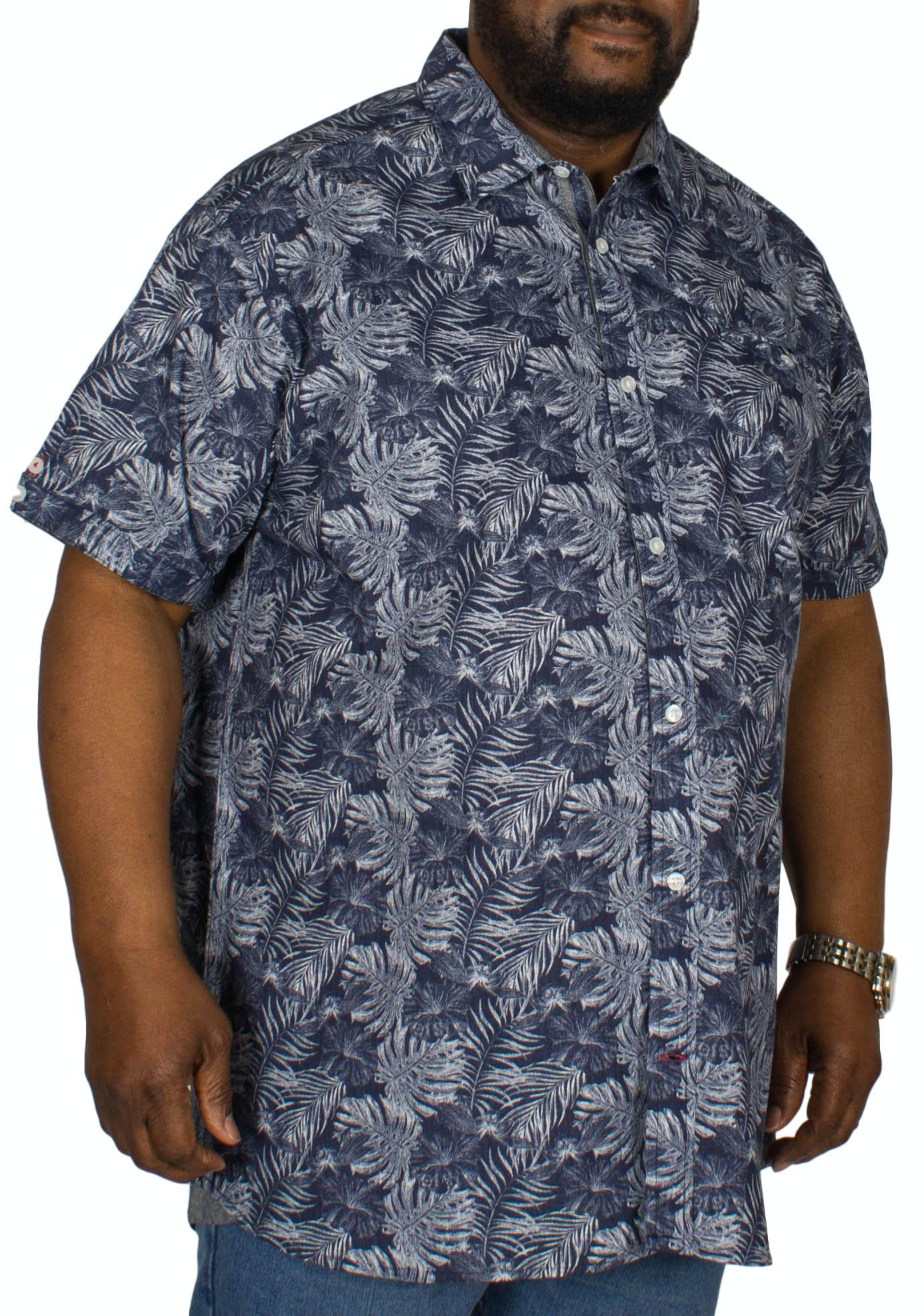 D555 Sheldon Hawaiian Leaf Print Shirt Navy