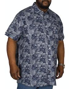 D555 Sheldon Hawaiian Leaf Print Shirt Navy