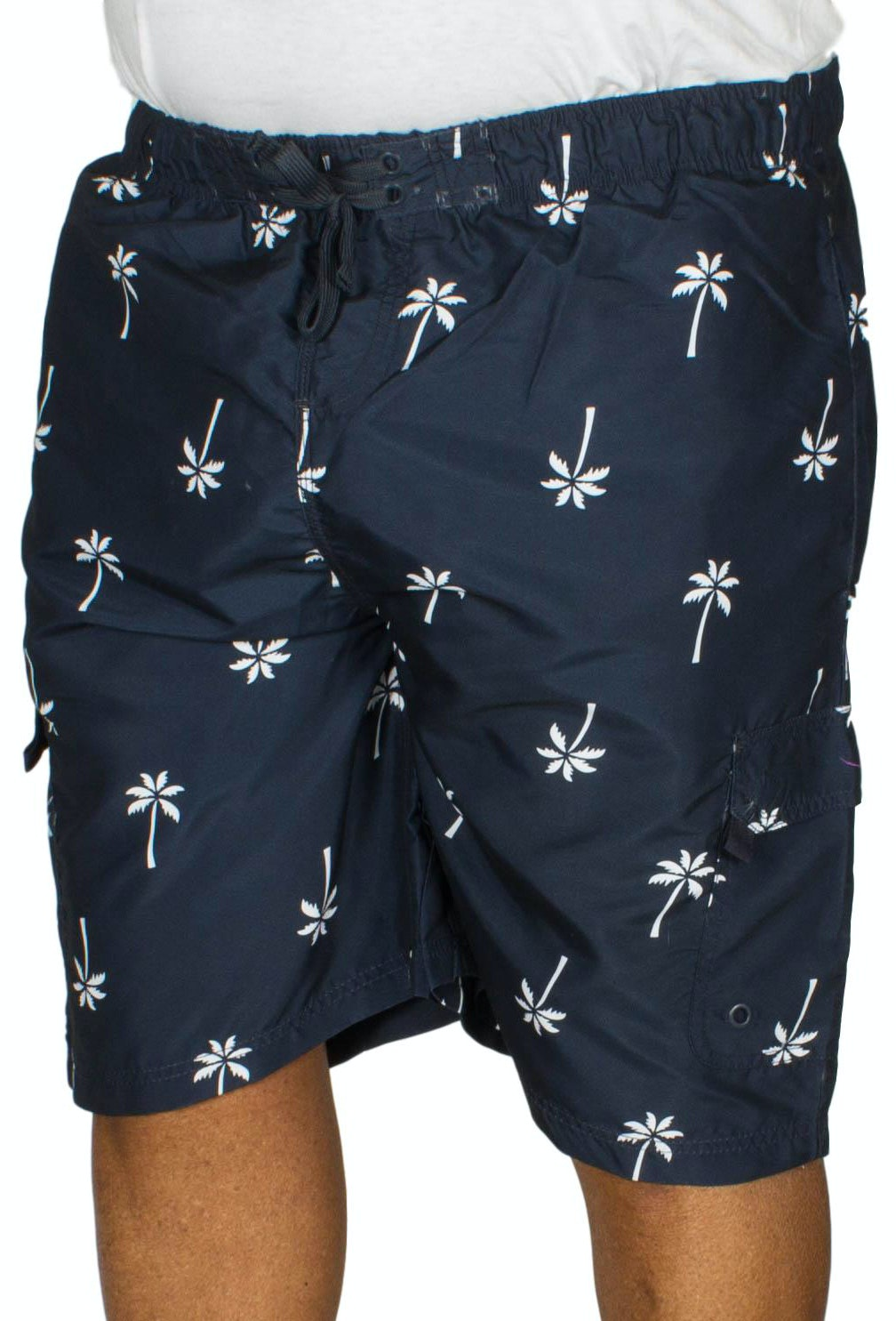 KAM Palm Tree Print Swim Shorts Navy