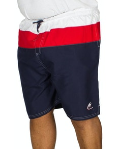 Metaphor Contrast Panel Swim Shorts Navy/Red