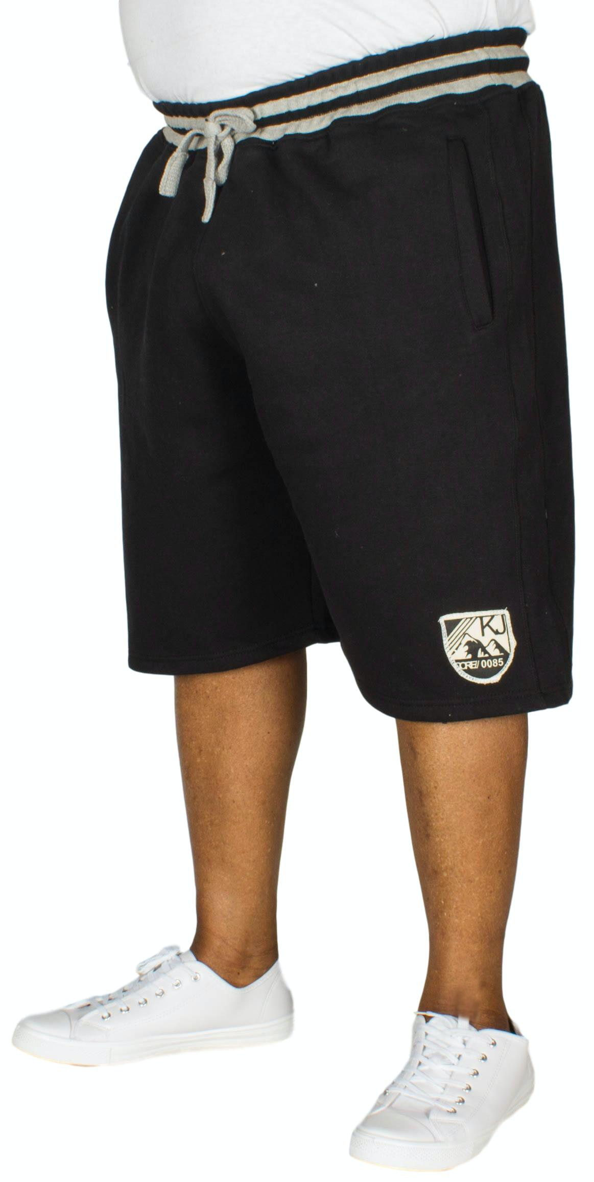 KAM Stripe Waist Jogger Shorts Black