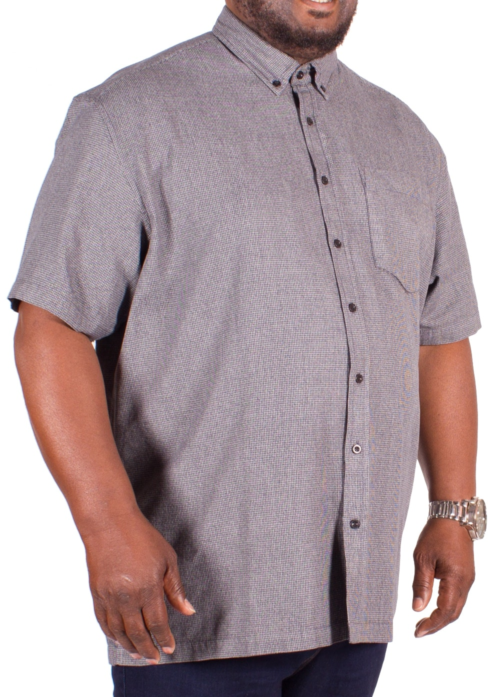 Bigdude Short Sleeve Blue Hounds Tooth Shirt